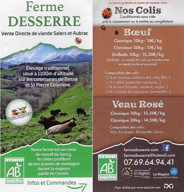 vente directe de viande Salers et Aubrac